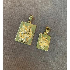 Pingente São Jorge Retangular Ouro (Escolha o Tamanho)