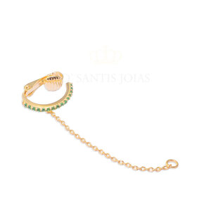 Piercing Cravejado Esmeralda com Fio Ouro
