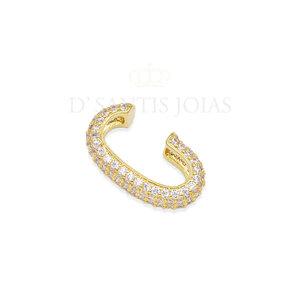 Ear hook piercing tubo todo Cravejado Ouro