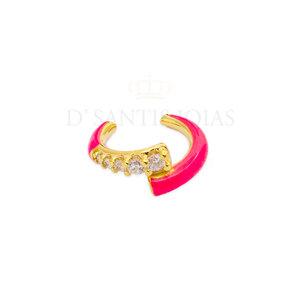 Piercing Duplo Cravejado e Esmaltado Pink Neon Ouro18k