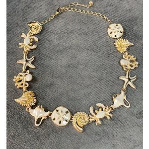 Choker/Colar Elementos do Mar Esmaltado ouro