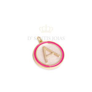 Pingente Grande LETRA Madre Perola com Pink Ouro
