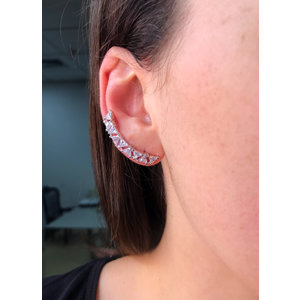 Brinco Ear Cuff Triangulos Rodio