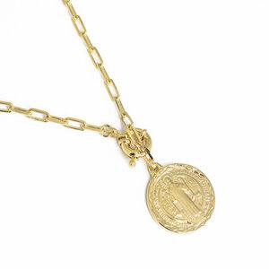 Colar/Choker Medalha São Bento banhado a Ouro 18K.