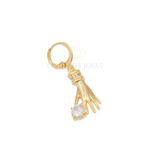 Argola e Pingente Mão com Ponto cristal ouro