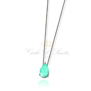 colar gota esmeralda colombiana Rodio Negro prata925