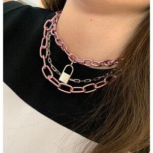 Choker elos pequenos metalizados rosa