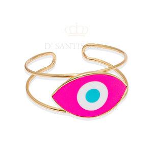 Bracelete Olho Grego Pink Ouro