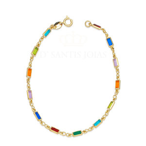 Pulseira Baguetes Rainbow Ouro18k
