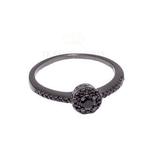 Anel Ponto Pequeno Cravejado Rodio Negro