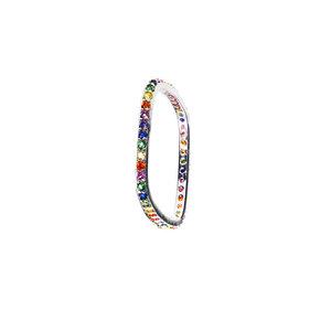 Anel Formato Quadrado Rainbow Rodio ( prefeito para o dedo POLEGAR )