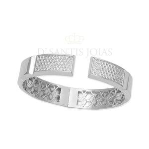 Bracelete Quadrado Cravejado Abre/Fecha Prata925 Rodio