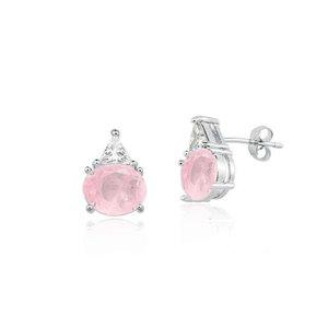 Brinco Oval Rosa com Triangulo Cristal Rodio