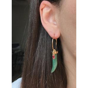 Argola Dente Jade Verde com Navete Rubelita Ouro