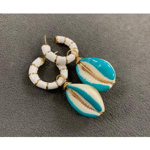 Argola Caracol Branca com Buzios Esmaltado Azul Ouro18k