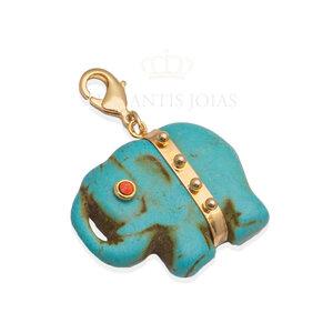 Pingente Elefante Pedra Ouro