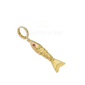Argola e Pingente Peixe Articulado com textura Ouro18k (unitário)
