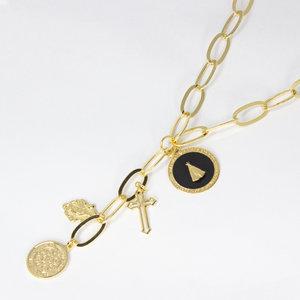 Colar Longo Elos ns senhora Esmaltada preta com Medalhas de Proteção Ouro