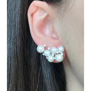 Brinco Ear Cuff Perolas com Ponto de Luz Prata925