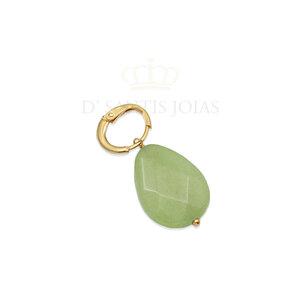 Pingente Gota Jade Verde Ouro