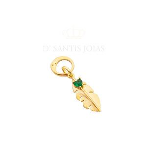 Argola e Pingente Folha com Coração Esmeralda Ouro