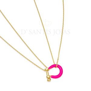 Colar Mosquetao Pink Neon Ouro
