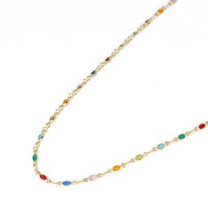 Colar Zirconias Ovais Rainbow 43 cm Ouro