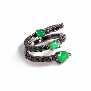 Anel Serpente Esmeralda Prata925