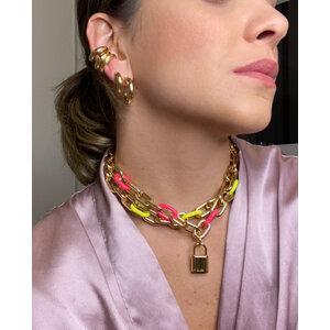 Colar Elos Ouro com Esmaltaçao Pink Neon Fecho Boia