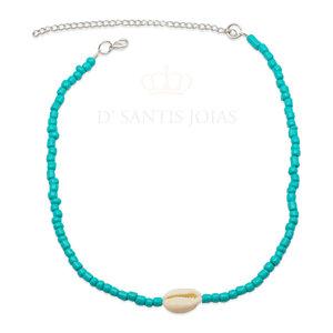 Choker beads turquesa com Buzios