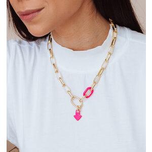 Colar Elos Ovais com Elo Colors Esmaltado Pink Fecho Removivel Ouro18k