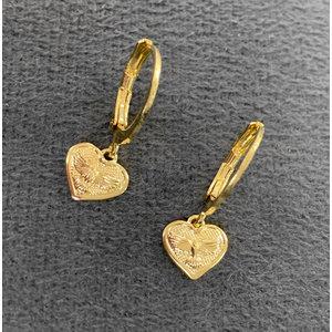 Argola Coração com Divino Ouro