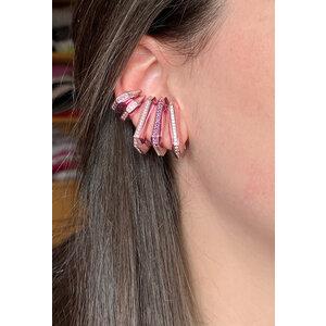 Brinco ear hook de pressao HB metalizado rosa cravejado roxo