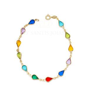 Pulseira Gotas Cristais Rainbow Ouro18k