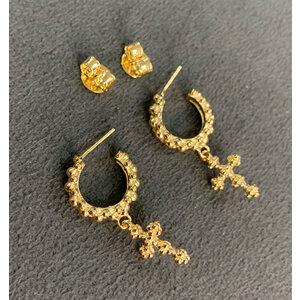Argola Bolinhas Textura com CRUZ Ouro