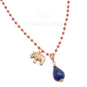 Colar Longo Cristais Corais com Elefante e Gota Jade Azul Ouro