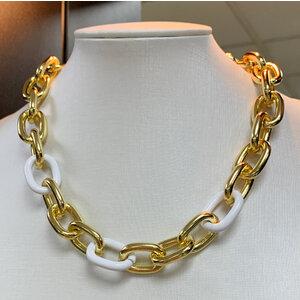 Colar Elos Ouro com Elo Esmaltado Branco Ouro18k