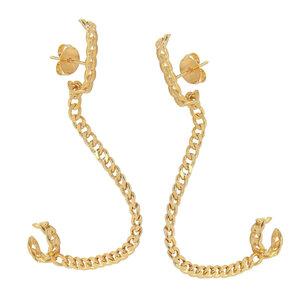 Brinco ear hook grumet com fio e piercing Ouro
