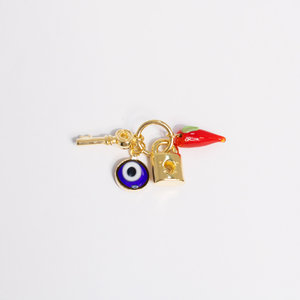 Pingente Patuá (Pimenta, Olho Grego, Chave, Cadeado) Ouro