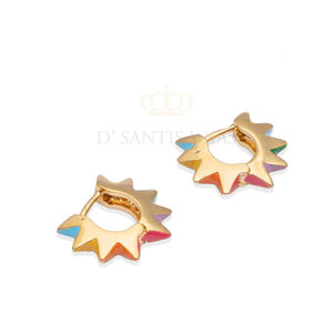 Argola spike candy colors 1.6cm ouro 18k