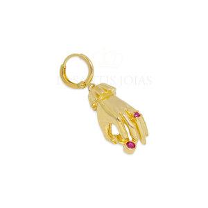 Argola ou Pingente Mao com zirconias Rubi ( Unitario ) Ouro 18k