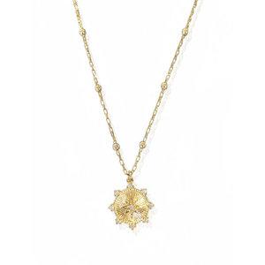 Colar Medalha Estrela Mística Corrente Bolinhas Ouro