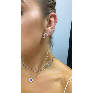 Brinco Ear Cuff Gotas Cristais Ouro18k