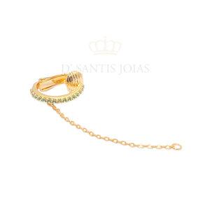 Piercing Cravejado Turmalina com Fio Ouro