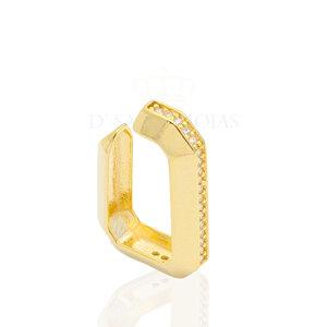 Brinco ear hook de pressao HB ouro com volta cravejada(unitário)