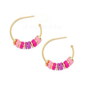 Argola Pop Pink e Roxo Ouro18k