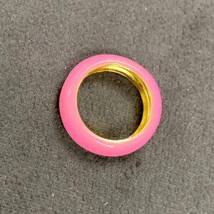 Anel Tubo esmaltado Colors Rosa Ouro18k