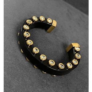 Bracelete Acrilico Preto com Cristais