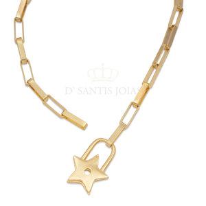Colar Elos Achatados com Cadeado de Estrela Ouro