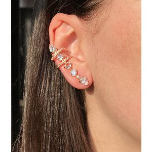 Ear Cuff Gota com Formas e Duas Voltas Cravejadas Cristal Ouro18k